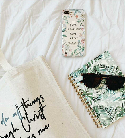 Love is patient phone case with journal and bag