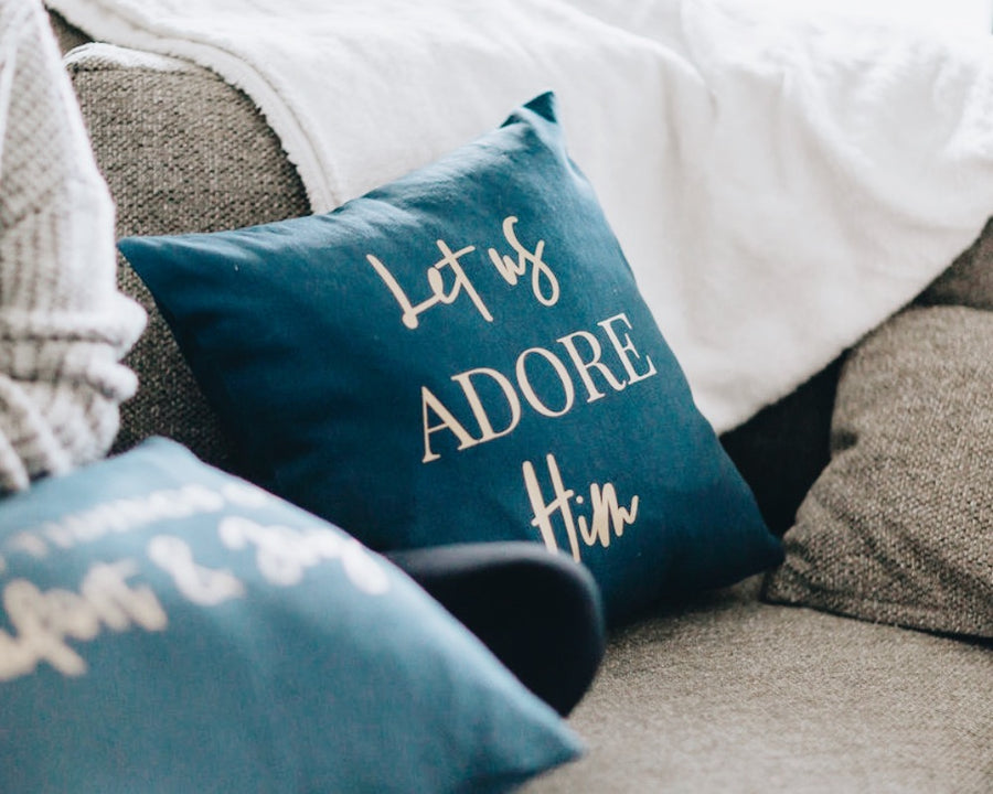 Let us Adore Him - Indigo Throw Pillow Cover
