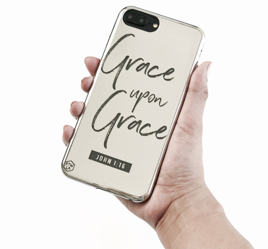 S212 - Grace upon Grace - Shimmer Series - Bible Verse Chrome Design Phone Case