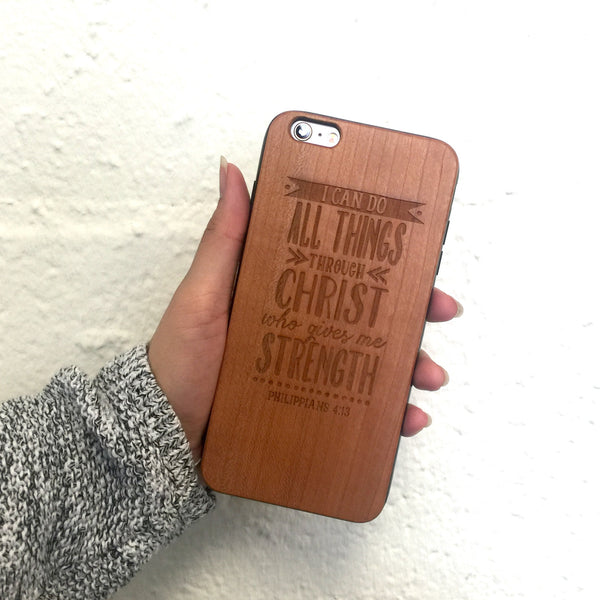 W64 - I CAN DO ALL THINGS - Christian Wood Phone Case