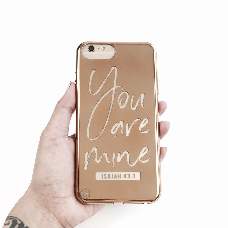 S214 - You Are Mine - Shimmer Series - Bible Verse Chrome Design Phone Case