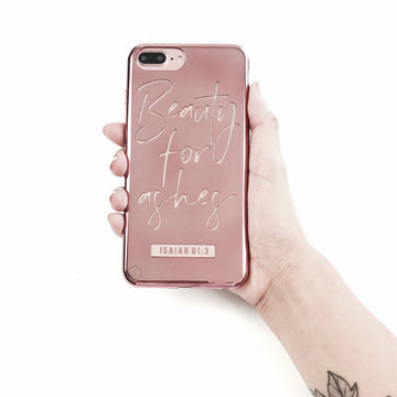 S215- Beauty For Ashes - Shimmer Series - Bible Verse Chrome Design Phone Case