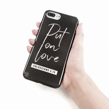 S217- Put on Love - Shimmer Series - Bible Verse Chrome Design Phone Case