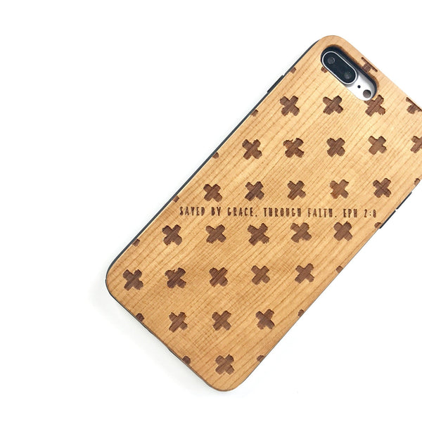 W198 - SAVED BY GRACE cross patterns - Wood Phone Case