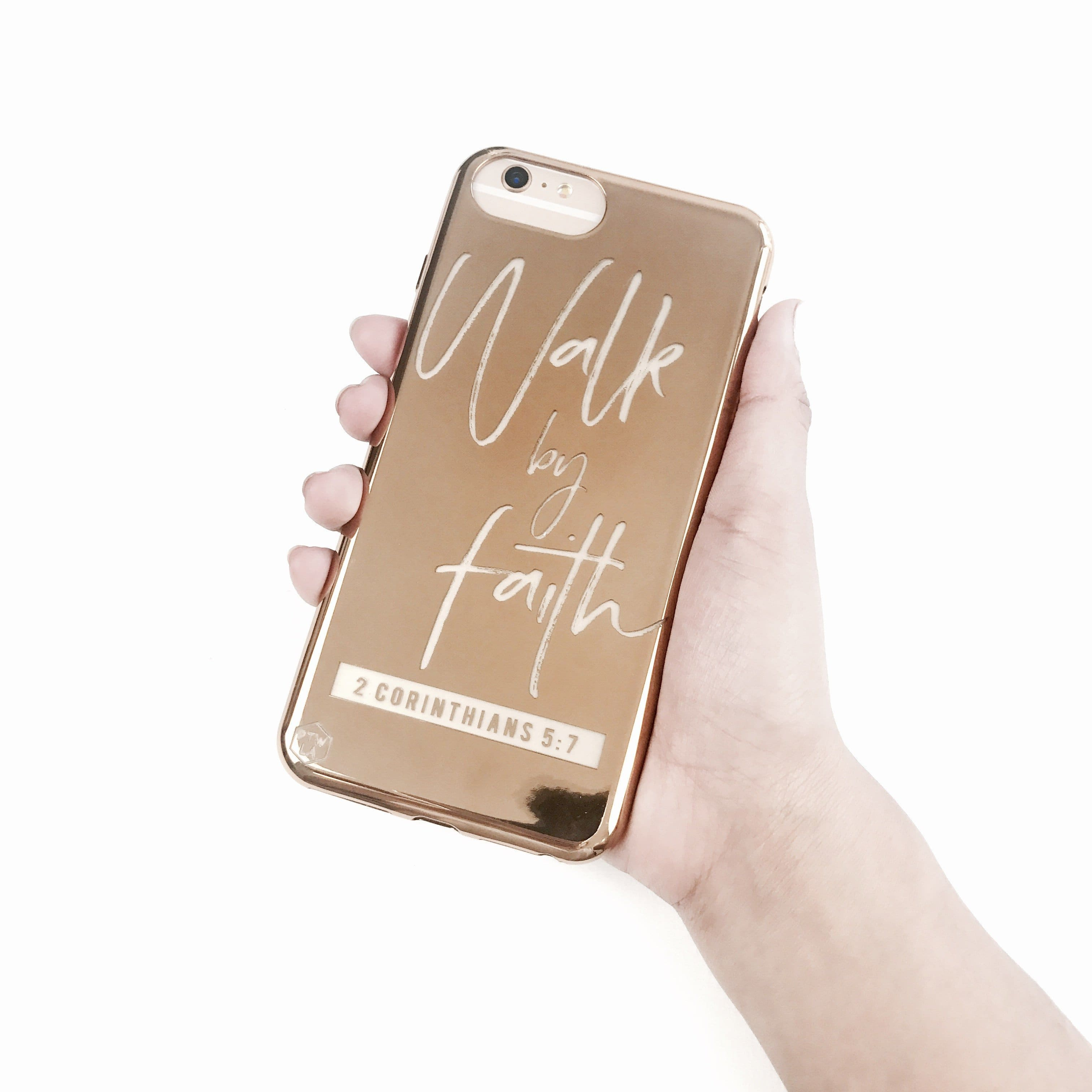 S210 - Walk By Faith - Shimmer Series - Bible Verse Chrome Design Phone Case