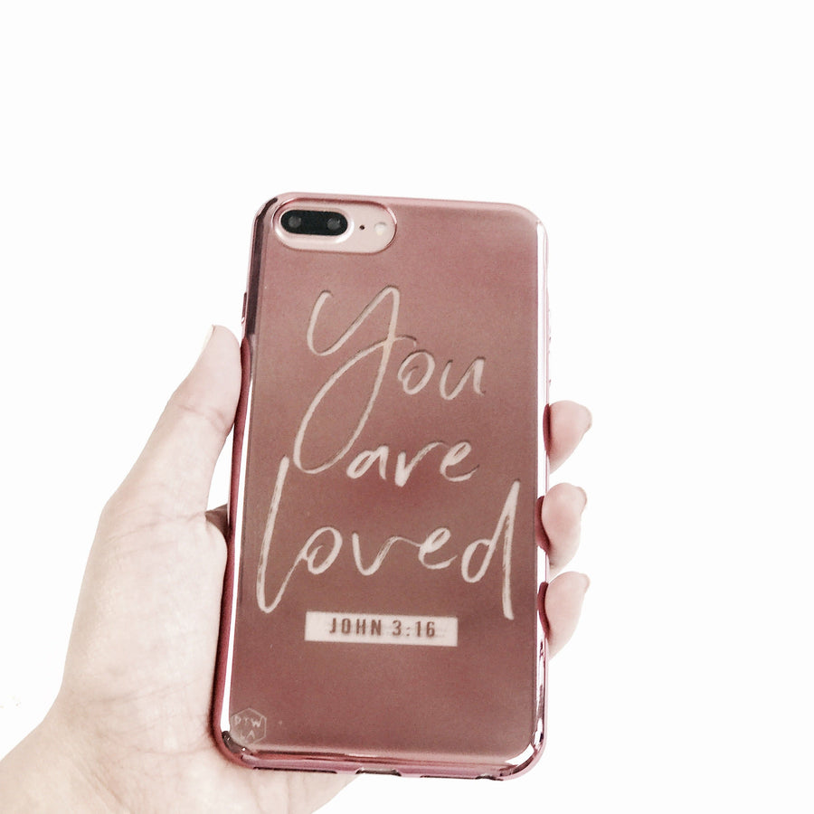 S211 - You are Loved - Shimmer Series - Bible Verse Chrome Design Phone Case
