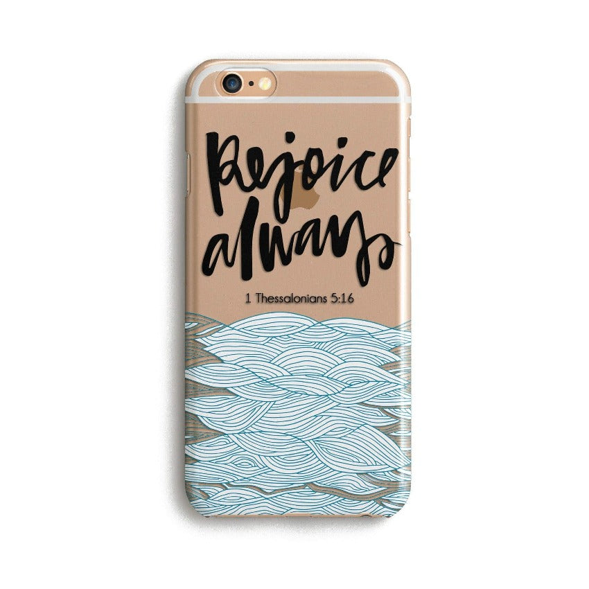 H144 - REJOICE ALWAYS - Sea&Salt - Scripture iPhone Protective Covers Christian Gift Idea