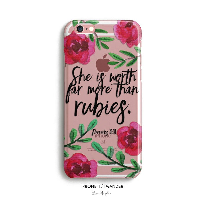 H154 -  MORE THAN RUBIES - IN BLOOM - Bible Verse Phone Case for iPhone Cover