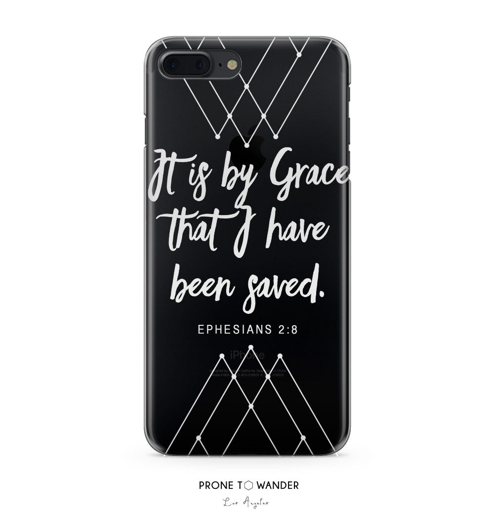 H172 - IT IS BY GRACE - Geometric White Bible Verse Christian Quote Phone Covers