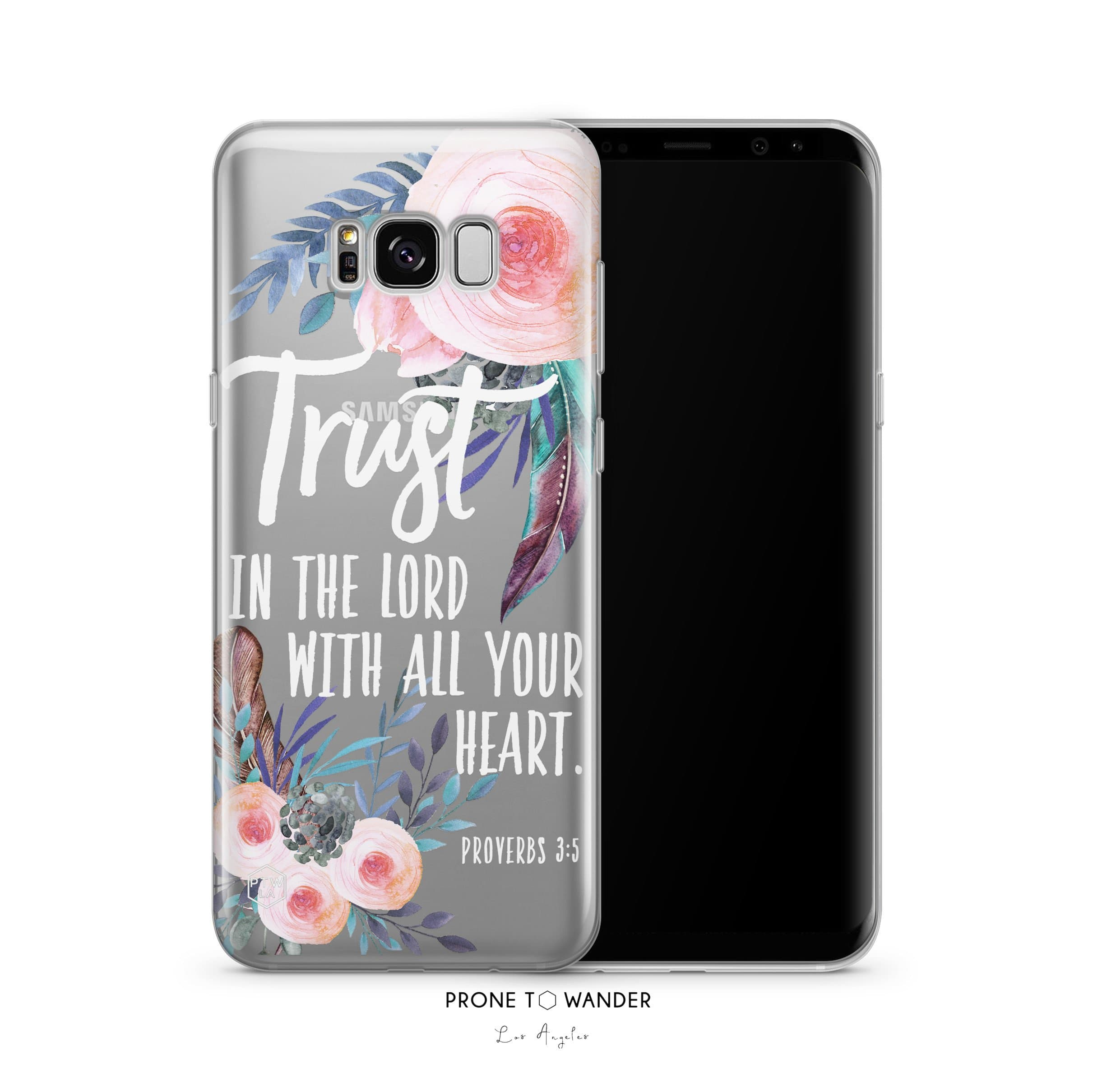 SAMSUNG H193 -TRUST IN THE LORD IN FLORAL BOHO - White Bible Verse Christian Quote Phone Covers