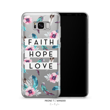 SAMSUNG H197 - FAITH HOPE LOVE IN BOHO ADVENTURE - White Bible Verse Christian Quote Phone Covers