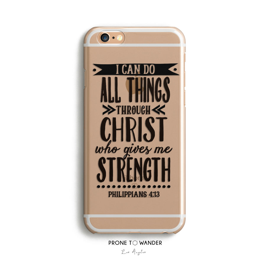 H64 -I CAN DO ALL THINGS TYPOGRAPHY - Christian cell phone covers with Scripture Religious verse phone case