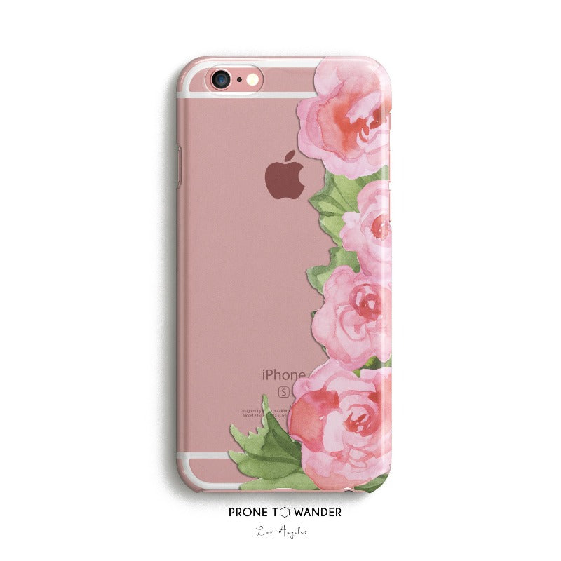 H72 - PINK FLOWERS RIGHT BORDER - TPU Clear Transparent Phone Case Floral Design