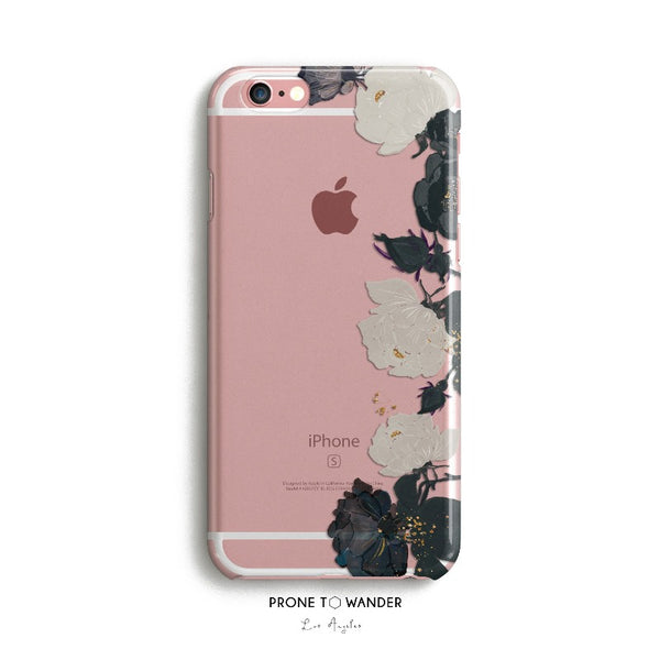 H74 - BLACK WHITE ROSES RIGHT BORDER - TPU Clear Transparent Phone Case Floral Design