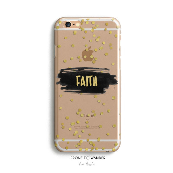 H82 - FAITH WITH GOLD GLITTERS - TPU Clear Christian Phone Case with Bible Verse Phone Cover