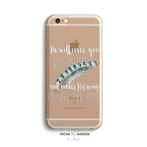 H84 - HE WILL COVER YOU WITH HIS FEATHERS - Christian cell phone covers with Scripture Religious verse phone case
