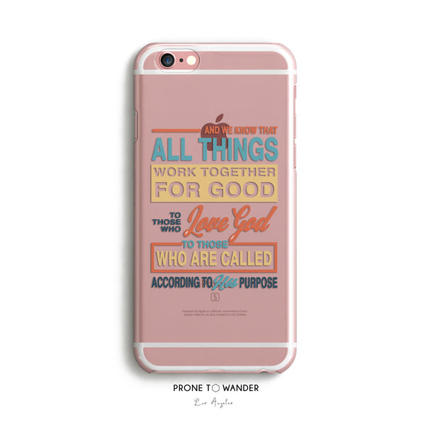 H91 - IN ALL THINGS GOD WORKS - TPU Clear Transparent Christian Phone Case with Bible Verse Phone Cover