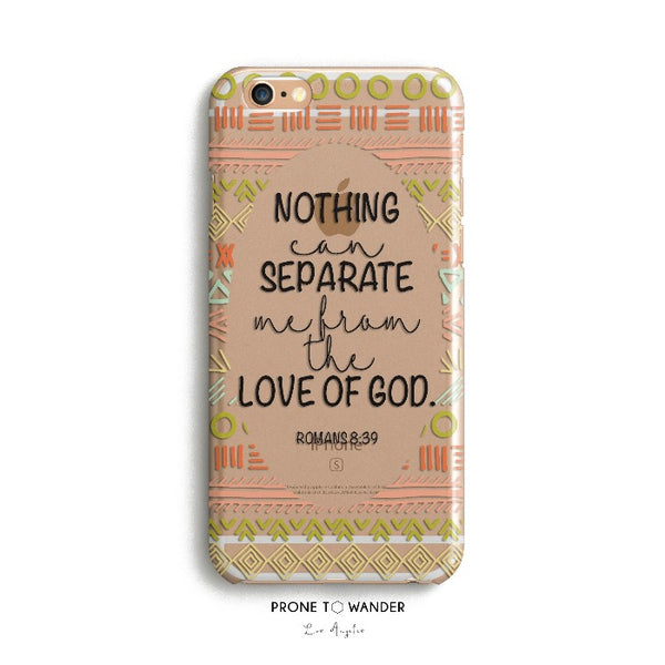 H92 - NOTHING CAN SEPARATE - TPU Clear Transparent Christian Phone Case with Bible Verse Phone Cover