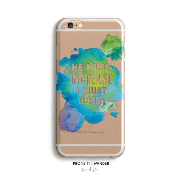 H96 - HE MUST INRCEASE - TPU Clear Transparent Christian Phone Case with watercolor design