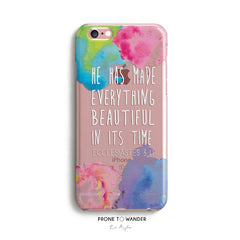 H97 - HE HAS MADE EVERYTHING BEAUTIFUL IN ITS TIME- TPU Clear Transparent Christian Phone Case with watercolor design