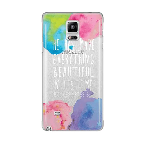 SAMSUNG H97 - HE HAS MADE EVERYTHING BEAUTIFUL IN ITS TIME- TPU Clear Transparent Christian Phone Case with watercolor design