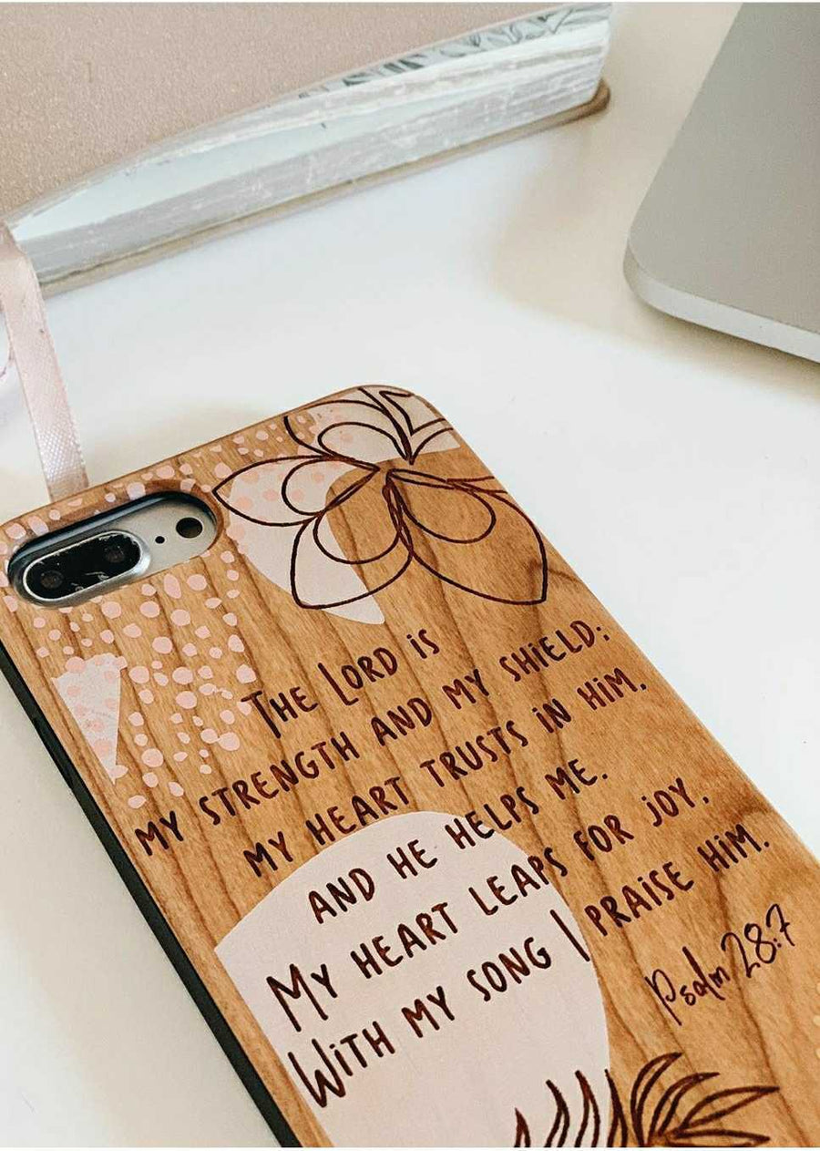 LE286 - THE LORD IS MY STRENGTH AND SHIELD - Special Edition Wood Phone Case