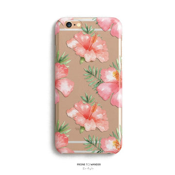 H155 - TROPICAL DREAM in ALOHA -  TPU Clear Transparent Floral hibiscus iPhone Cover