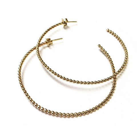 Eva Beaded Gold Hoops