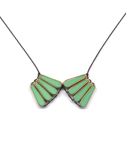 Green Mirror Arcs Necklace