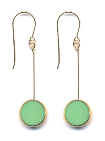 Green and 24k Drop Earrings