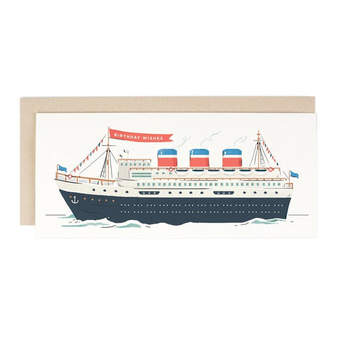 Ocean Liner Birthday Card