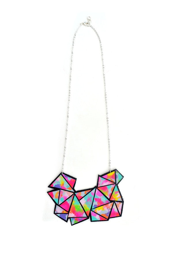 Rainbow Triangle Leather Bib Necklace