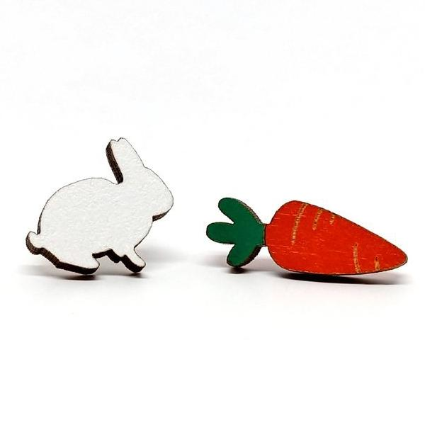 Bunny & Carrot Stud Earrings