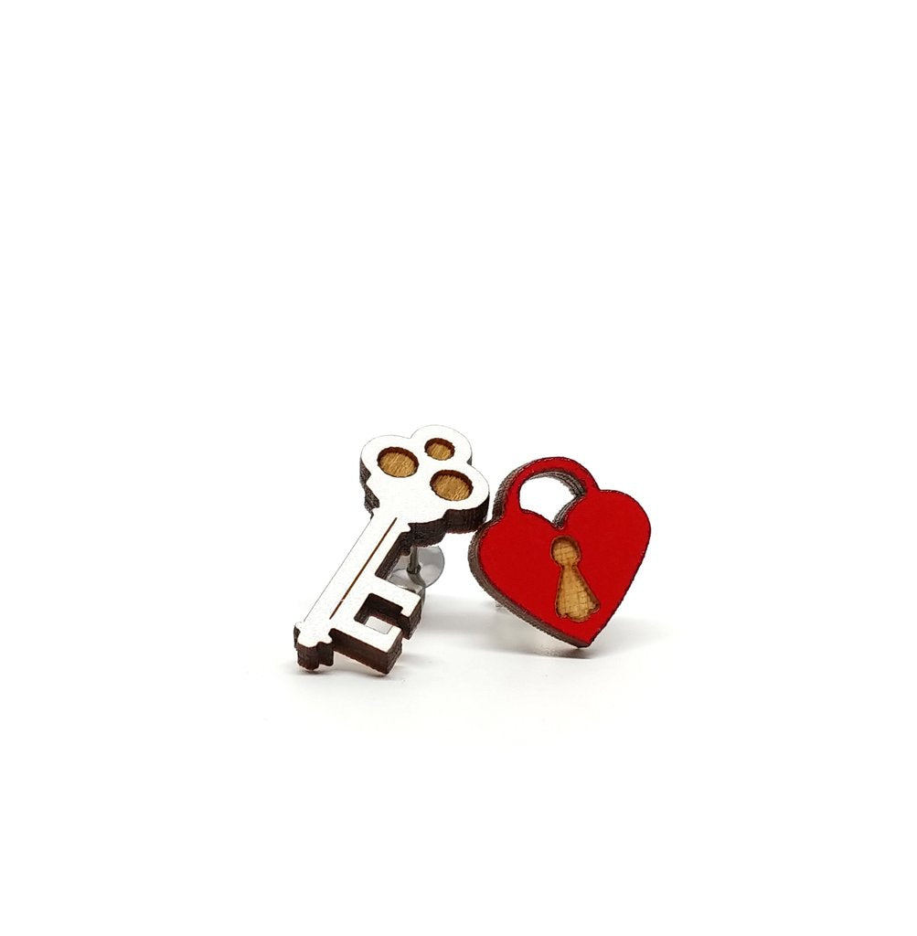 Key and Heart Lock Stud Earrings