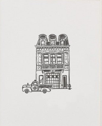 Fire Station Letterpress Art Print