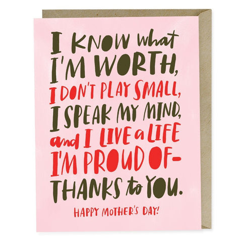 Know My Worth Mother's Day Card