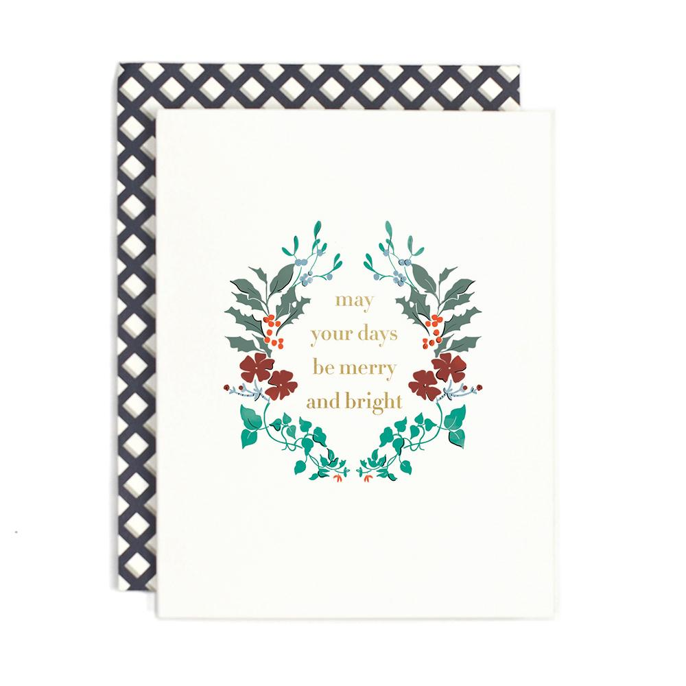 Merry and Bright Floral Card