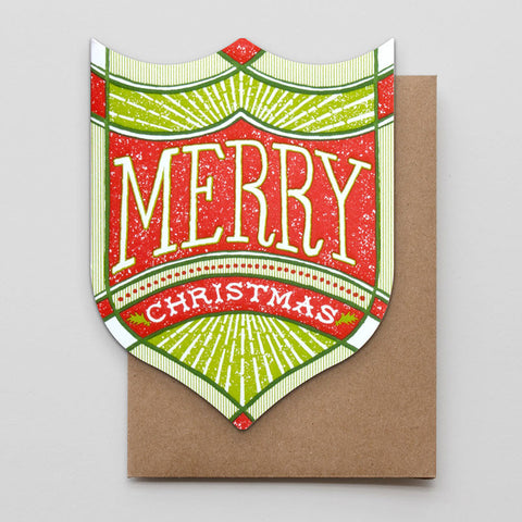 Merry Christmas Shield Card