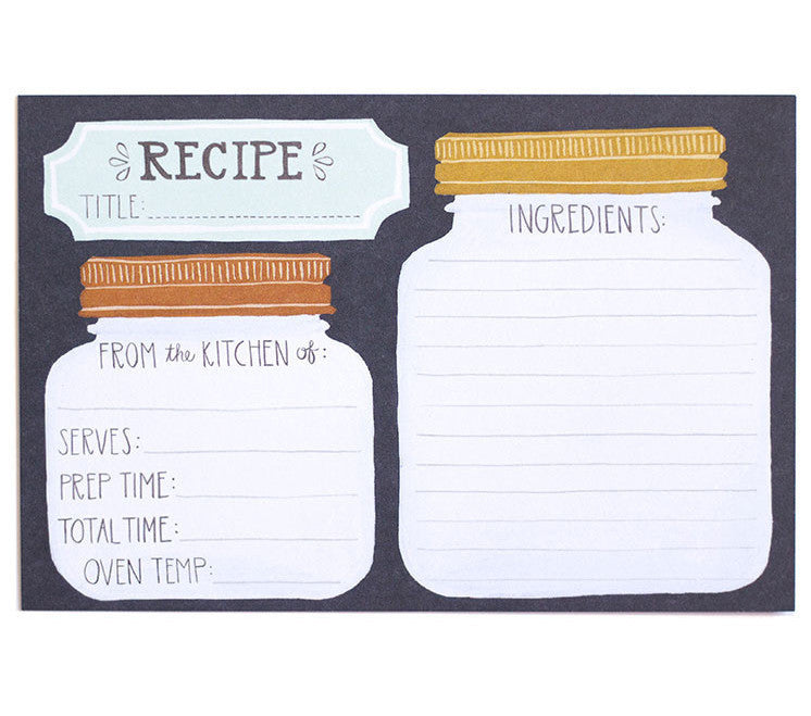 Mason Jar Recipe Cards