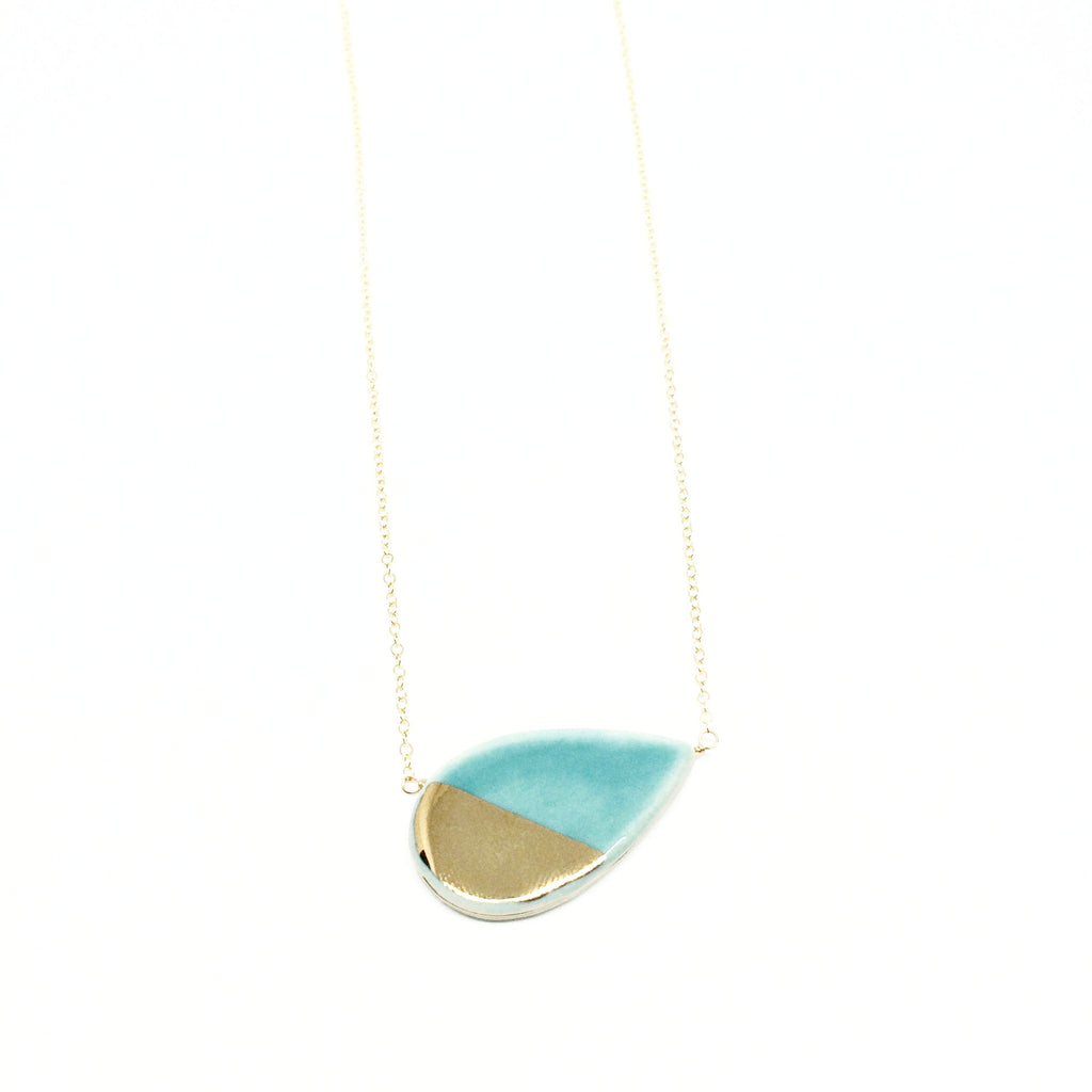 Large Petal Teal/Gold Necklace