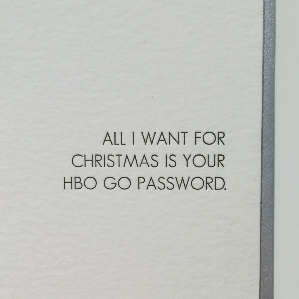 HBO Go Letterpress Card