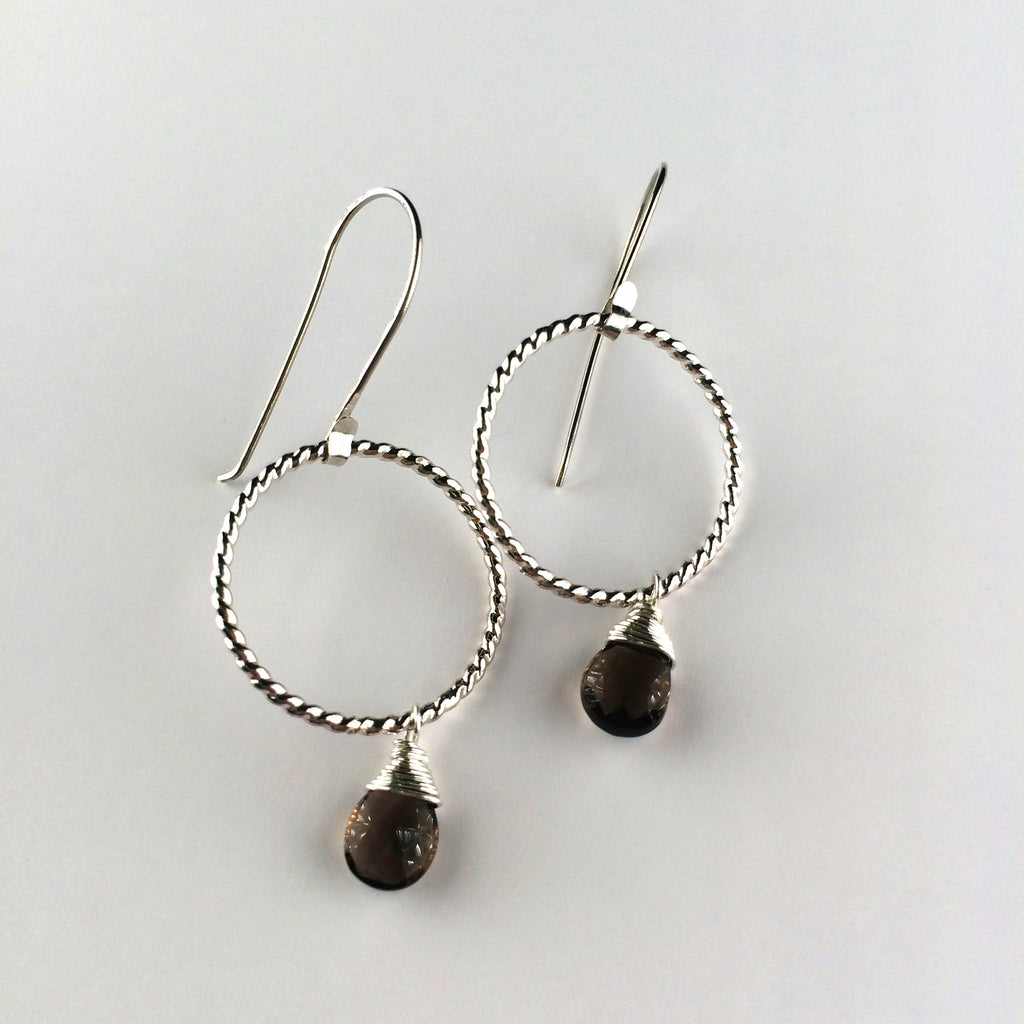 Twisted Hoop and Drop Earrings - Smoky Quartz/Silver