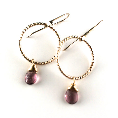Twisted Hoop and Drop Earrings - Amethyst/Gold