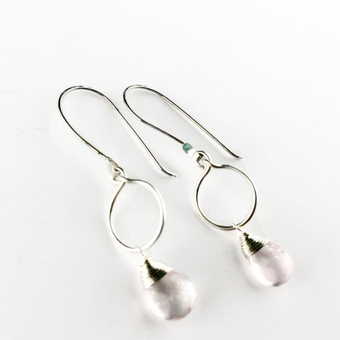 Tiny Drop Earrings - Rose Quartz/Silver