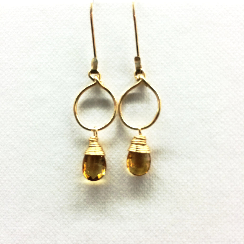 Tiny Drop Earrings - Citrine/Gold