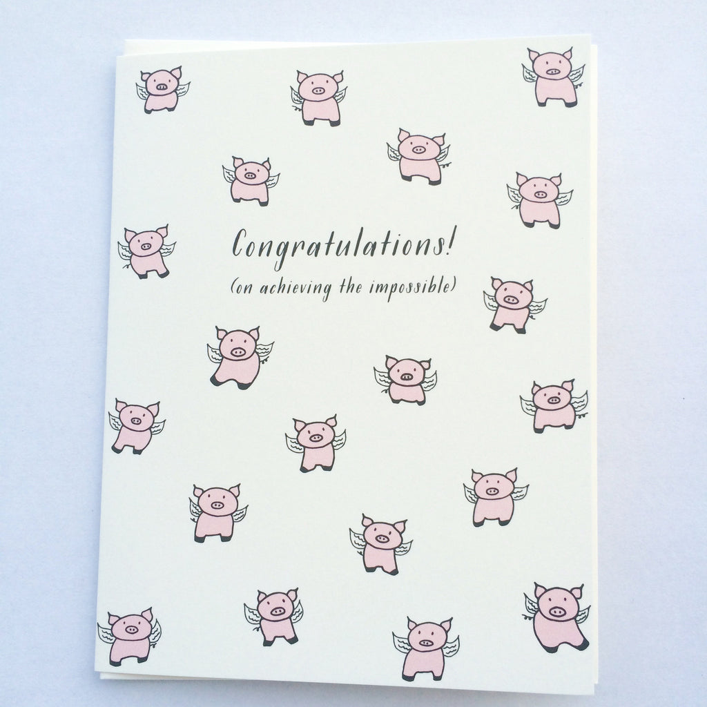 Pigs Fly Congrats Card