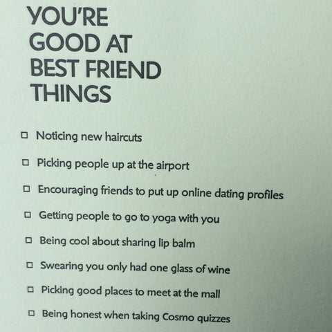 Good at Best Friend Things Letterpress Card