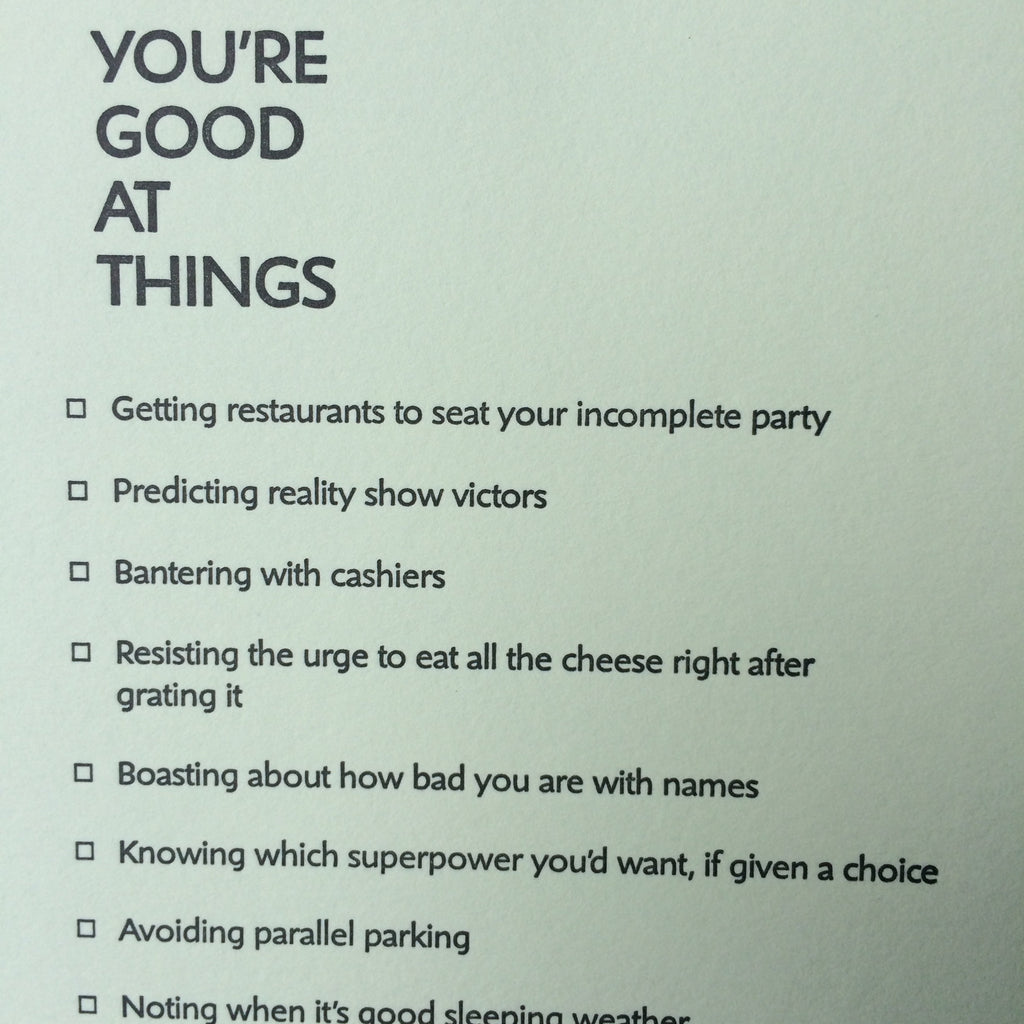 Good at Things Letterpress Card