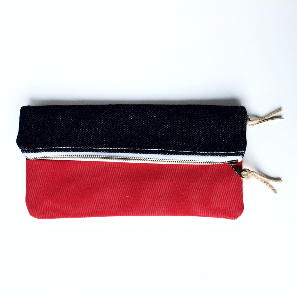 Clutch - Denim/Red