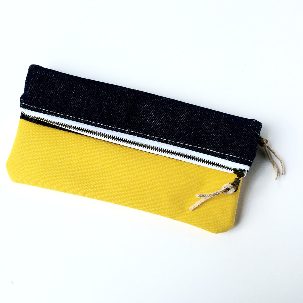 Clutch - Denim/Yellow